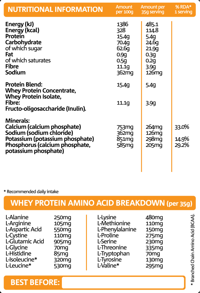 Night Fuel Chocolate Nutritional information