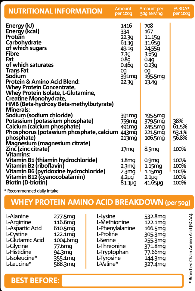Recovery Fuel Nutritional Information