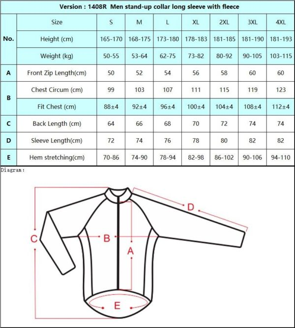 Sizing Chart Thermal Cycle Jersey